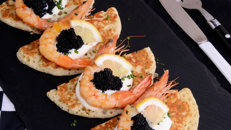 Easy Shrimp Caviar Blinis