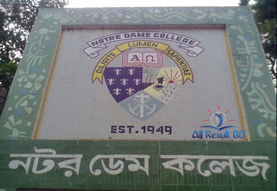 Notre Dame College Dhaka admission test result Notice 2014