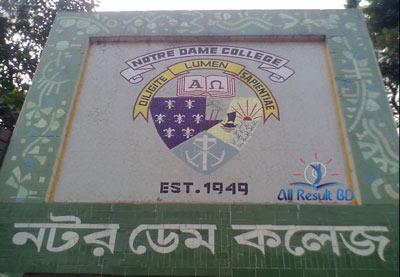 Notre Dame College HSC Admission Notice Result 2017