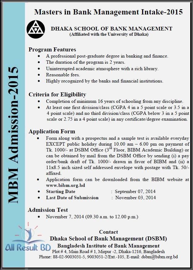 BIBM MBM Admission Notice