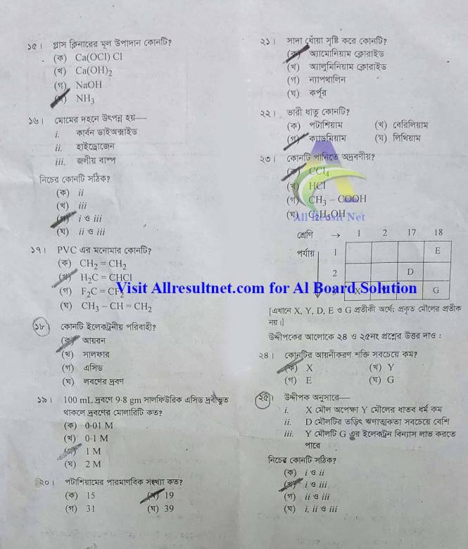 SSC Chemistry MCQ Solution 2020