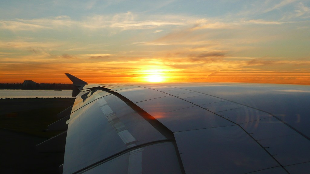 Sunset across the wing of an A380 aircraft