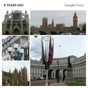 Collage of Westminister Abbey, Big Ben and the Houses of Parliament and other London views
