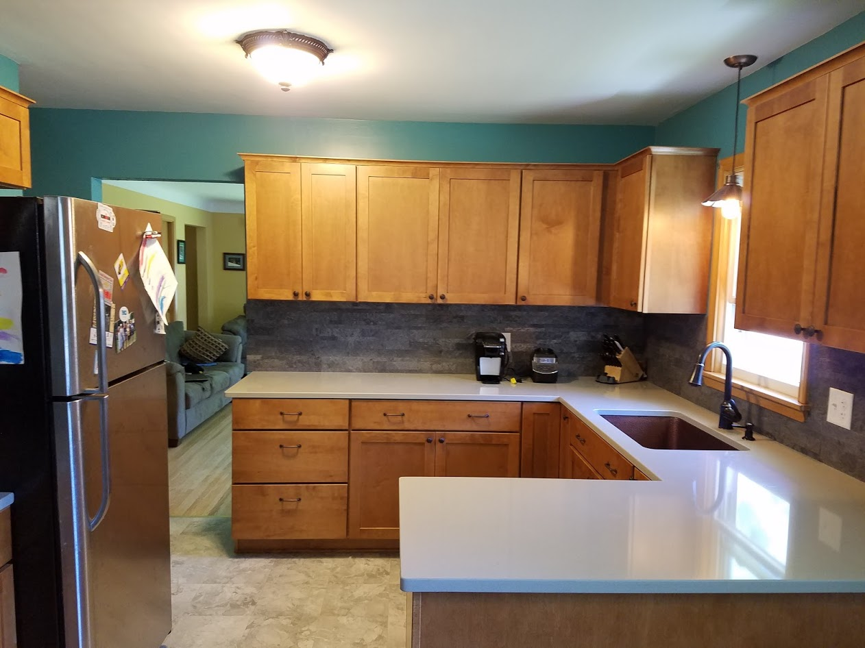Kitchen Remodel with Maple Cabinets and Hanstone Quartz ... on Kitchen Countertops With Maple Cabinets  id=12736