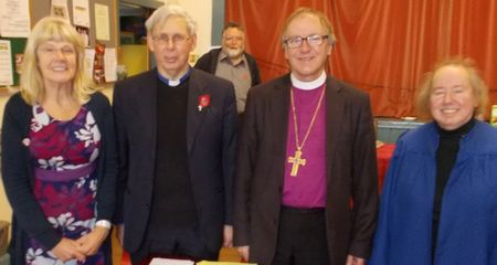 Vestry secretary Eileen Condie, Rev Sydney Maitland, Bishop Gregor, Eileen Maitland. Background: Brian Skillen.