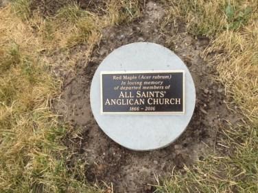 2016, July 9, Tree plaque