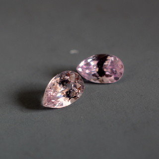 Pair of loose peach Sapphires
