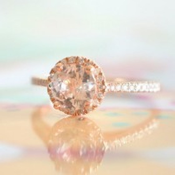 rose gold engagement ring, peach sapphire engagement ring