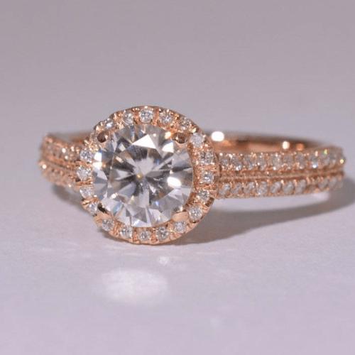 Moissanite gold ring, Rose gold engagement ring,