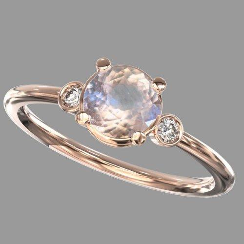 1 carat round peach sapphire promise ring
