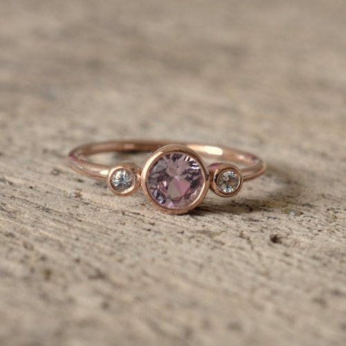 3 stones rose gold bezel ring