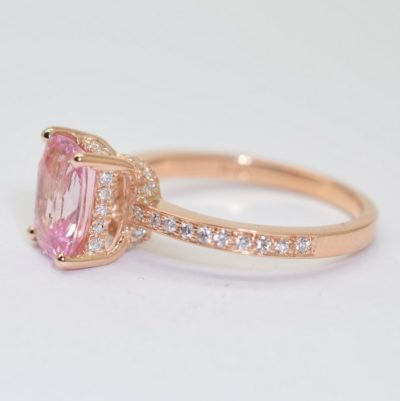 Padparadscha Sapphire Rose Gold Engagement Ring with Diamonds