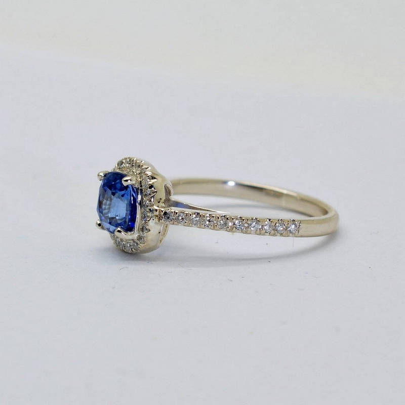 1.53 ct unheated natural cushion blue sapphire Silver engagement ring