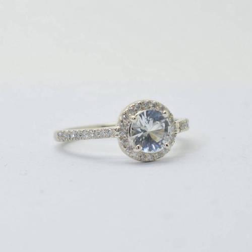 Natural white Ceylon Sapphire ring