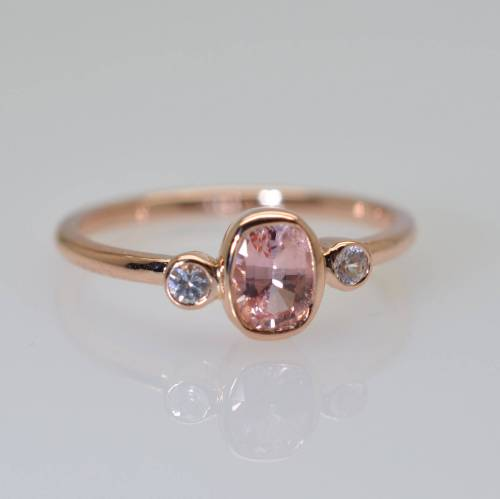cushion peach champagne sapphire ring