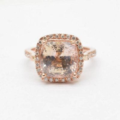 cushion peach sapphire
