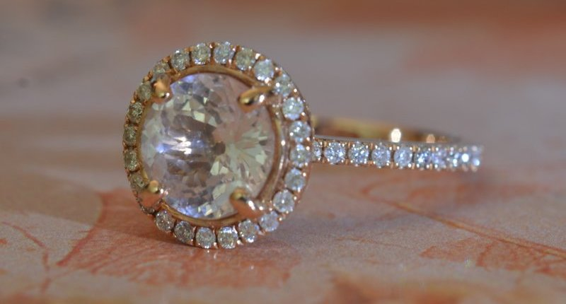 round Peach sapphire rose gold ring