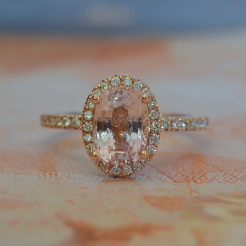 peach sapphire engagement rind