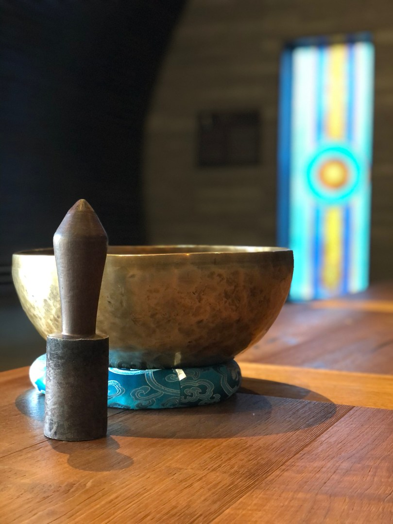 singing bowl at meditation cave