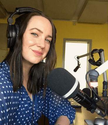Frances Cook broadcasting the podcast