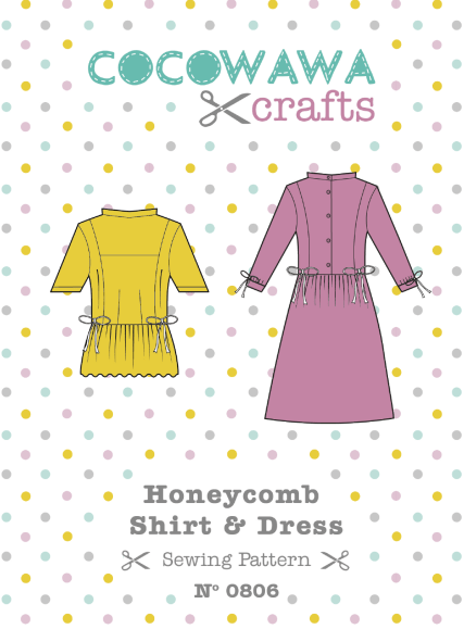 Honeycomb-Shirt-Dress-sewing-pattern-Front-Cover-CocoWawa-Crafts