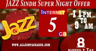JAZZ SINDH SUPER NIGHT OFFER