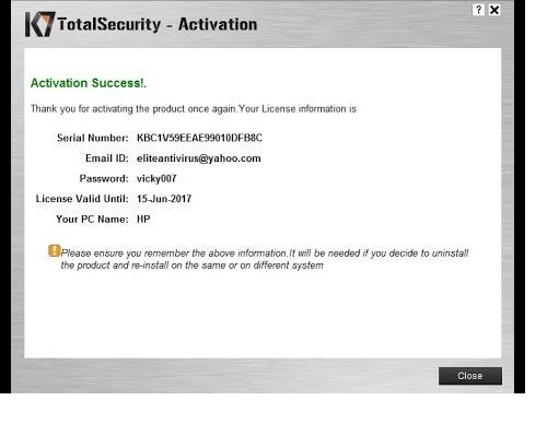 K7 Total Security Full Working Activation Key