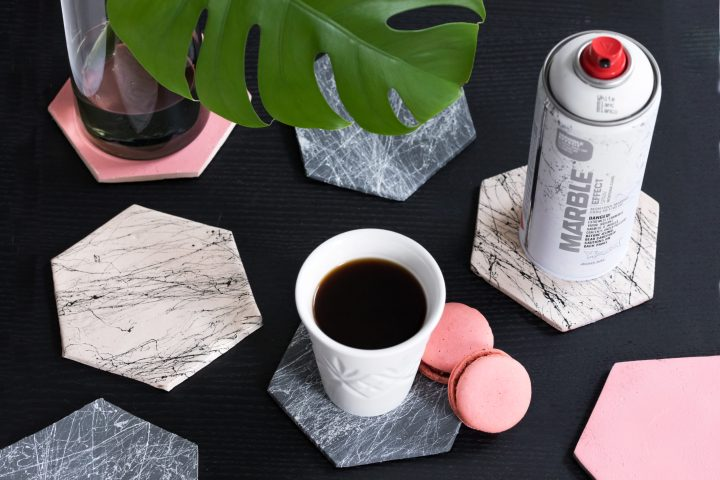marble effect coasters