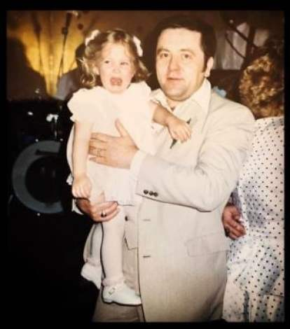 Kay Adams with her father in her childhood