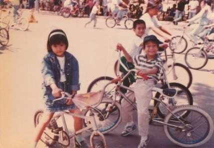 Neil cycling with his childhood friends