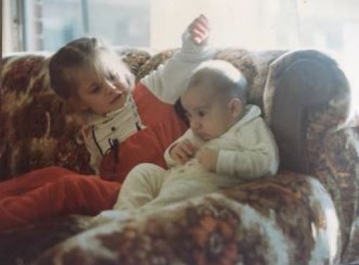 Stana Katic with her brother in her childhood