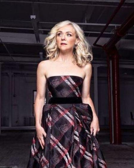 Photo of Rachel Bay Jones promoting the outfit of MurphyMade design dressed by Randi Rahm.