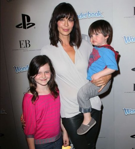 Photo of Adam Beason's wife, Gemma Beason and two children arrived at the EBMRF & Sony PlayStation's Epic Halloween Bash along.