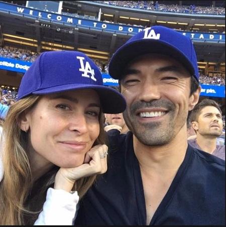 Nicole and Ian weaing LA dodgers