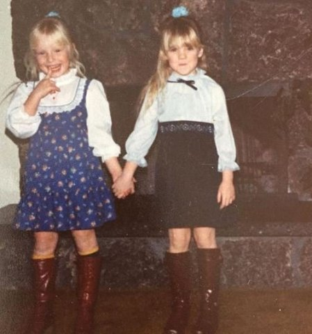 Childhood photo of Jaime Bergman with her cousin sister.