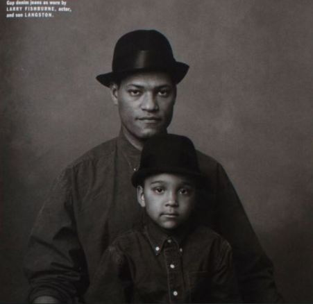 Childhood photo of Langston Fishburne with his father.