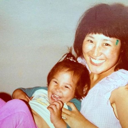 Childhood photo of Julee Cerda with her mother.