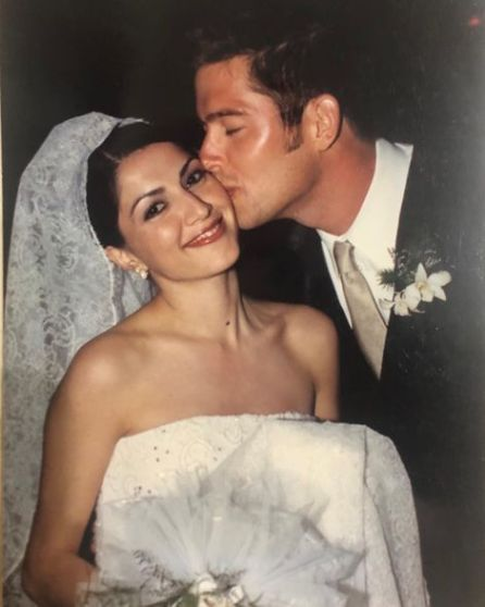 Rachel Campos-Duffy and her husband on their wedding vows