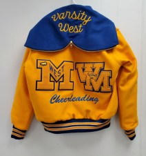"""Embroidered """"VARSITY WEST"""" on Hood with Royal Embroidered 2"""" """"CHEERLEADING"""" Below Letters"""