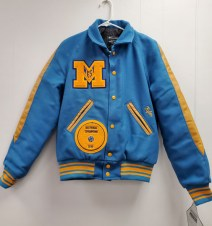 Newark Blue Wool Varsity Jacket with Wool Sleeves with Lt. Gold Leather Overlay; Newark Blue Knit Trim with Lt. Gold Stripes