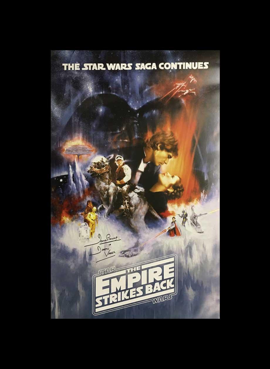 dave prowse darth vader signed star wars empire strikes back poster