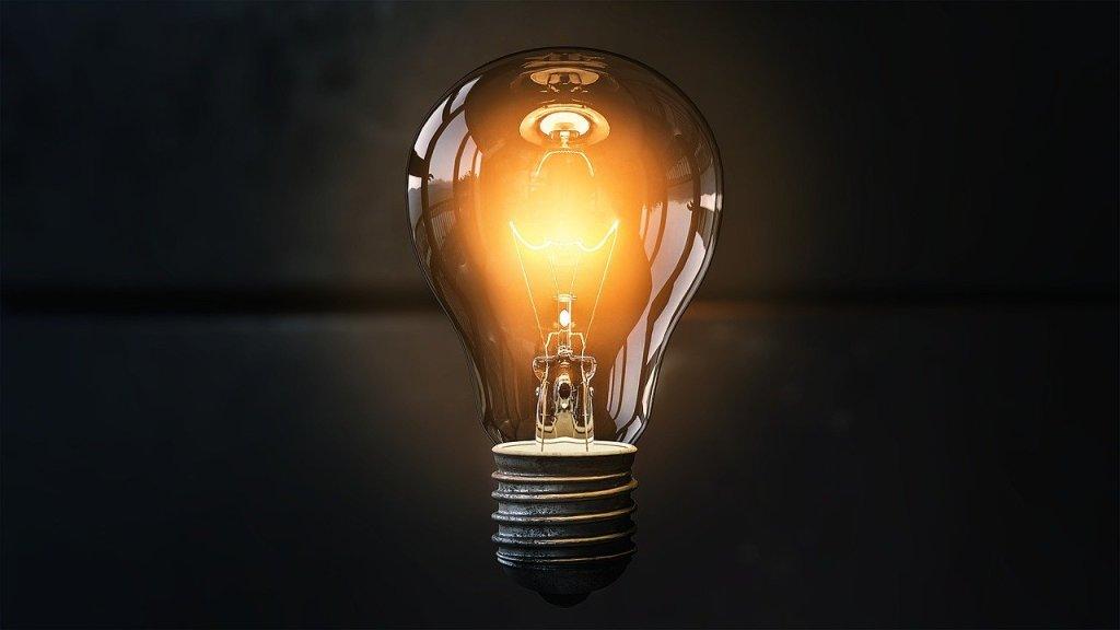 light bulb, idea, lit