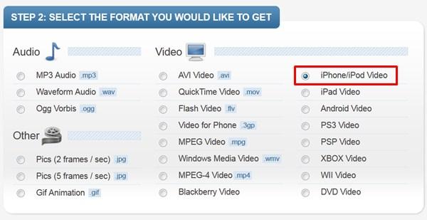convert youtube videos using online video converter - benderconverter - select format