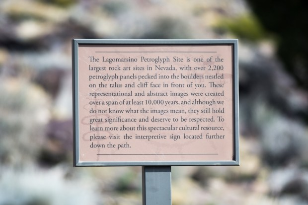 Lagomarsino Petroglyph Site Info Sign. Photo by David Calvert