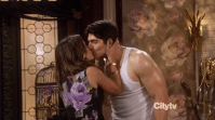 """Biggest laugh out loud (M): Ali kissing gay bff Wyatt without feeling anything... - Partners. Another show that didn't deserve to be cancelled, because it certainly had some LOL moments (playing celebrity, Ali and Louis accidentally buying the same stuff, Wyatt wearing superman glasses and calling his boyfriend Lois etc.). The whole scene with Wyatt helping Ali out at her store, walking around with a boombox and Ali saying goodbye to him with a """"mwah"""" friendly kiss was one of them! It got even better when Ali tried to prove to her fiance Joe that she didn't feel anything when she kissed Wyatt, but had to admit she was wrong after kissing him three times in a row. Wyatt's face was priceless!"""