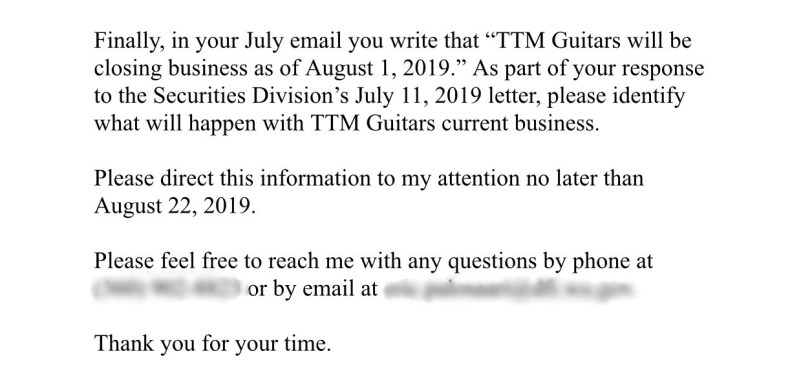 Source: California Attorney General's Office Investigating TTM Guitars & Lance Benedict; WA State Officials Want Answers