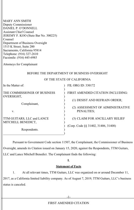 California Authorities Add More Charges To Lance Benedict And TTM Guitars