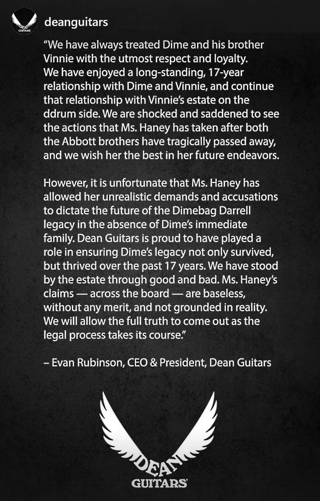 Dean Guitars Toddler In Chief Evan Rubinson Responds To Lawsuit From Dimebags Estate