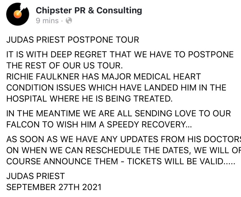 BREAKING:  Judas Priest Postpones Rest Of U.S. Tour Due To Richie Faulkner Hospitalized With Heart Condition