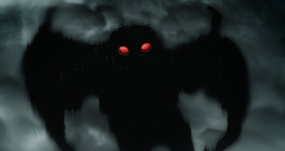 Drawing Mothman Dark Red Eyes Myths Legends